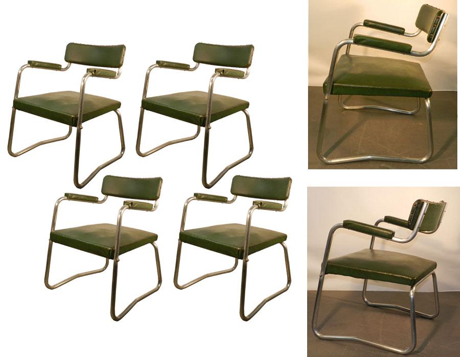 ad 5121 suite de 4 fauteuils art deco moderniste vers 1930. Black Bedroom Furniture Sets. Home Design Ideas