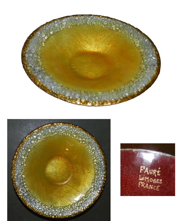 Ad 766 camille faure epoque art deco petit plat en emaux for Garage faurie limoges