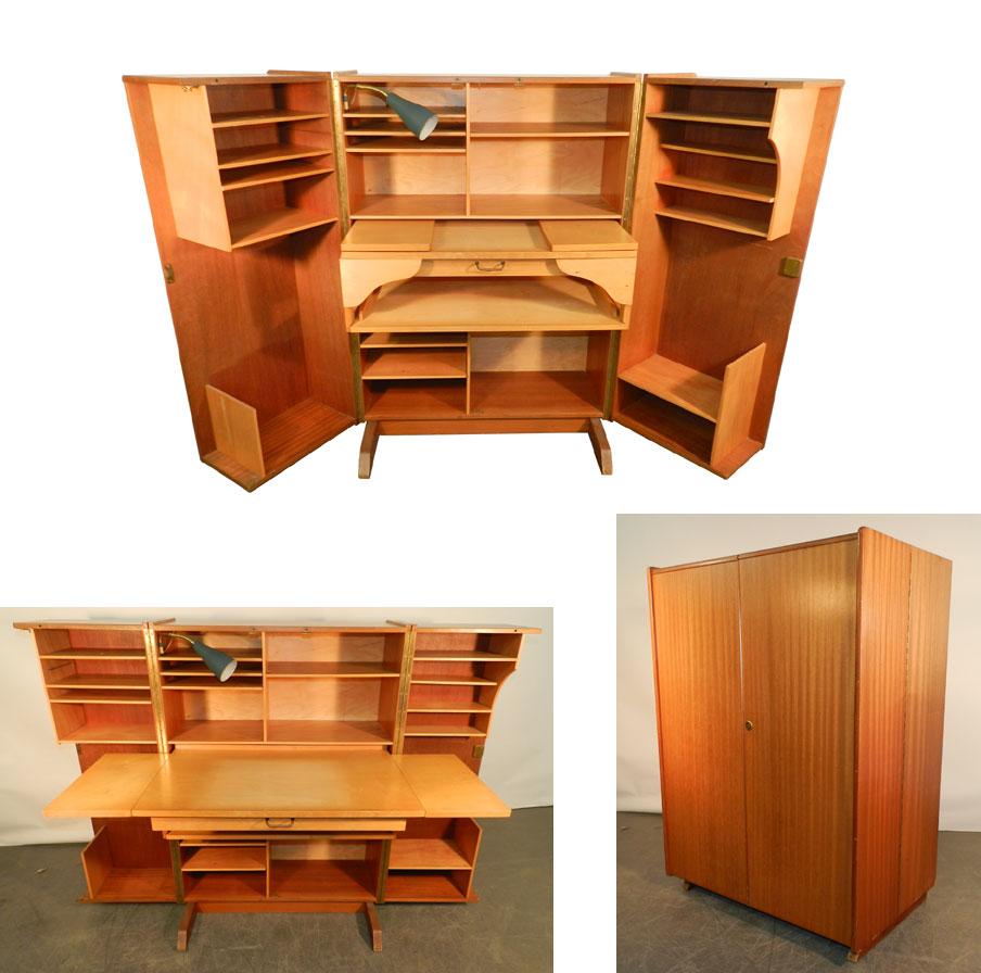 Mod 764 compact home office desk 1950 acajou et bois for Meuble bureau 76