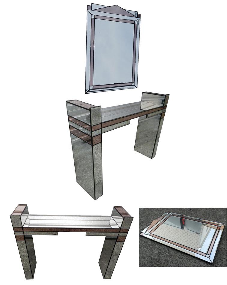 mod 775 console et son miroir blanc et rose. Black Bedroom Furniture Sets. Home Design Ideas