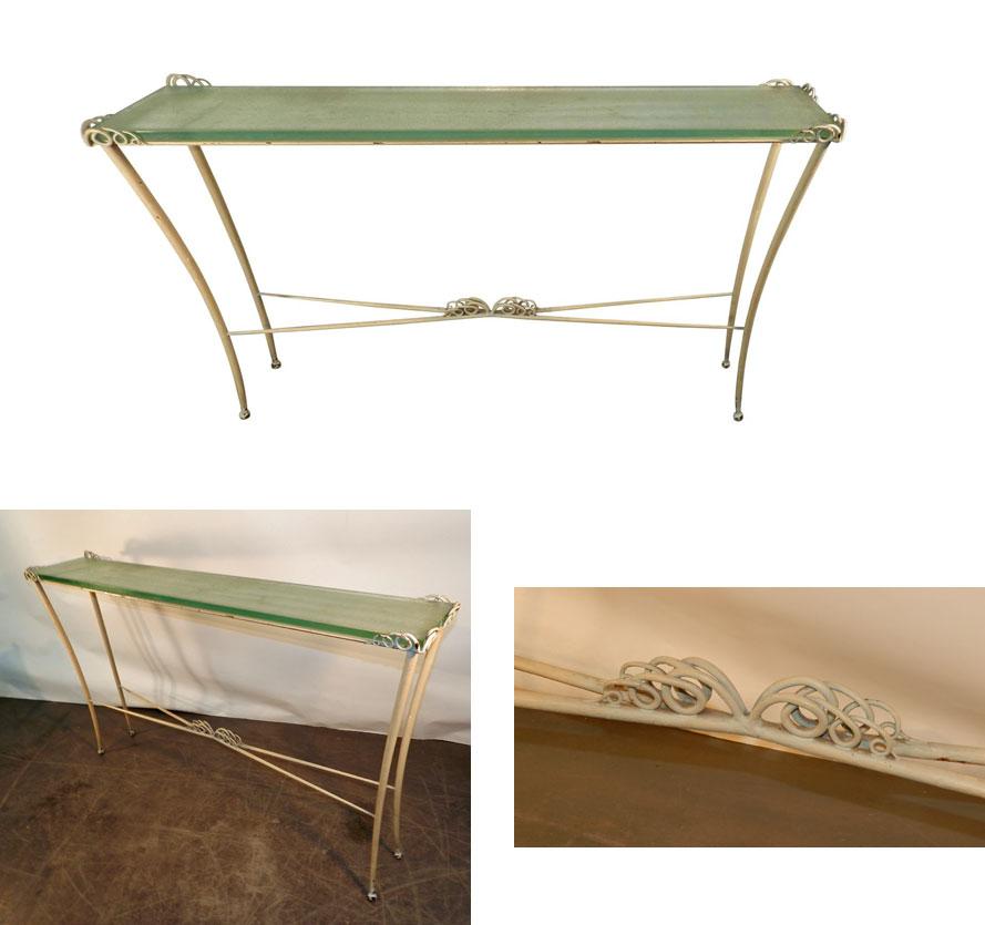 ad 855 table console art deco en m tal laqu et verre 1940 1950. Black Bedroom Furniture Sets. Home Design Ideas