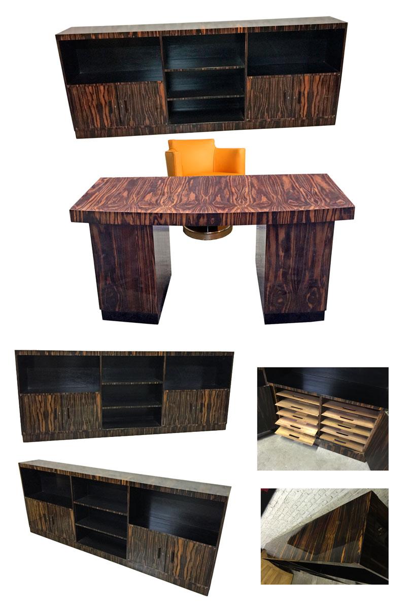 ad 9117 maurice alet biblioheque epoque art deco en placage d 39 ebene de macassar. Black Bedroom Furniture Sets. Home Design Ideas