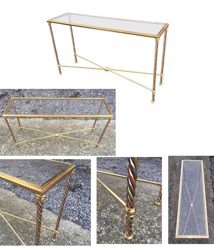 mod 915 console 1970 en laiton et m tal laqu polychrome. Black Bedroom Furniture Sets. Home Design Ideas